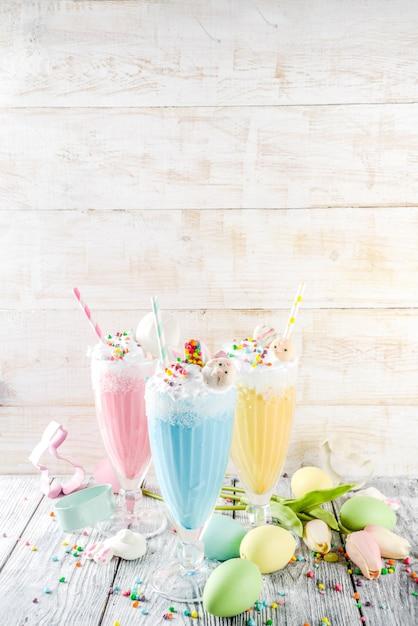 Grappige pasen-milkshakedranken Premium Foto