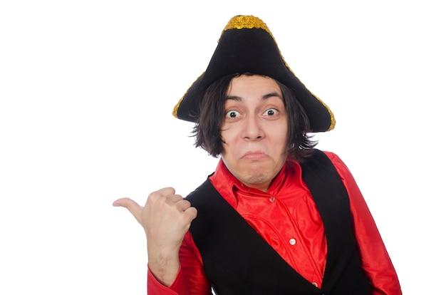 Grappige piraat die op het wit wordt geïsoleerd Premium Foto