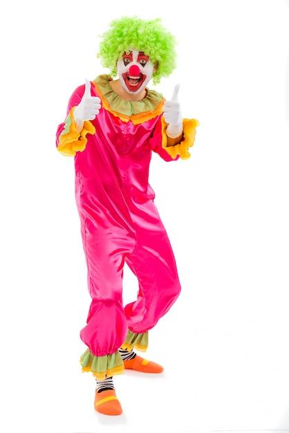 Grappige speelse clown in groene pruik die ok teken toont. Premium Foto
