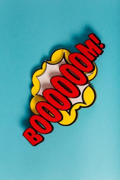 Grappige verwoording geluidseffect pop-art op gekleurde achtergrond Gratis Foto