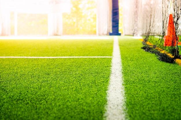 Grenslijn van een indoor voetbalveld voetbalveld Premium Foto