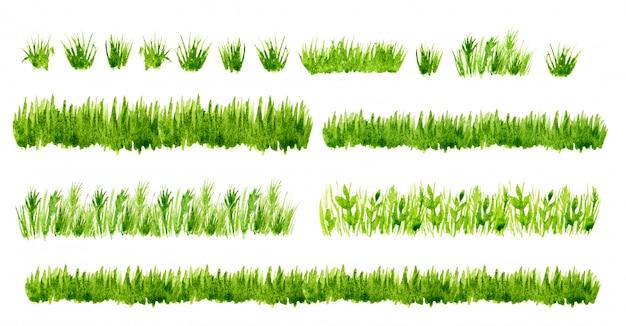 Grenzen van het waterverf de groene gras geplaatst geplaatst Premium Foto