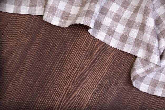 Grijs handgemaakt tafelkleed van rechter houten tafel Premium Foto