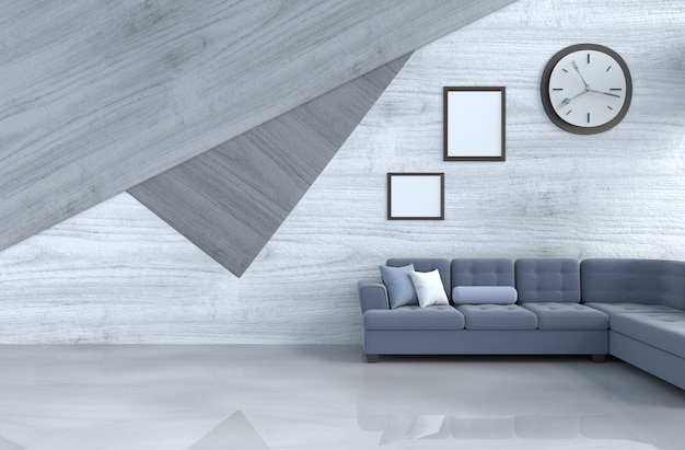 Grijs-wit woonkamerdecor met blauwe bank, muurklok, houten muur, omlijsting. Premium Foto