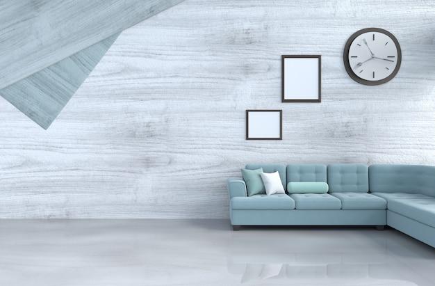 Grijs-wit woonkamerdecor met groene bank, muurklok, witte houten muur, omlijsting. 3 Premium Foto