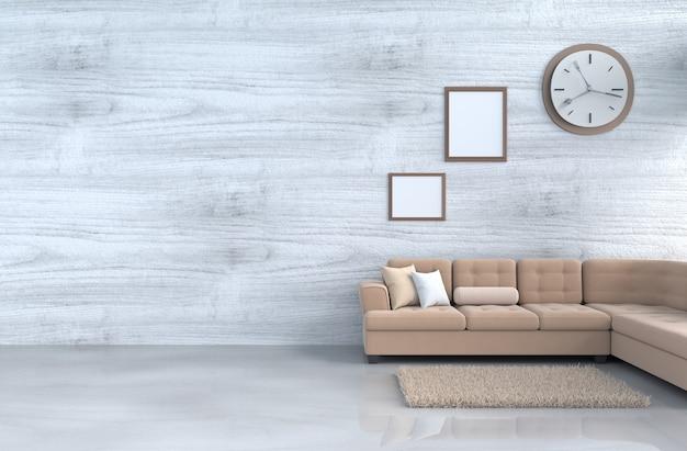 Grijs-witte woonkamer decor bruine bank, wandklok, houten muur, fotolijst, tapijt. 3d r Premium Foto