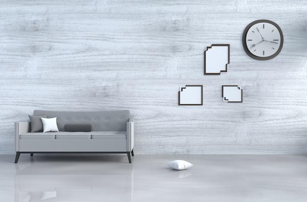 Grijs-witte woonkamer decor grijze bank, wandklok, witte houten muur, kussen, fotolijst. 3d Premium Foto