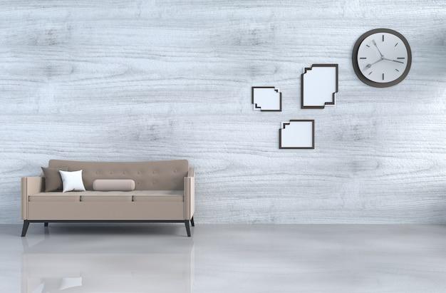 Grijs-witte woonkamer met bruine bank, muurklok, witte houten muur, hoofdkussen, omlijsting. 3 Premium Foto