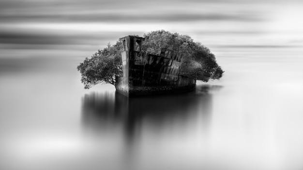 Grijstintenopname van een verlaten gebied in de open zee Gratis Foto