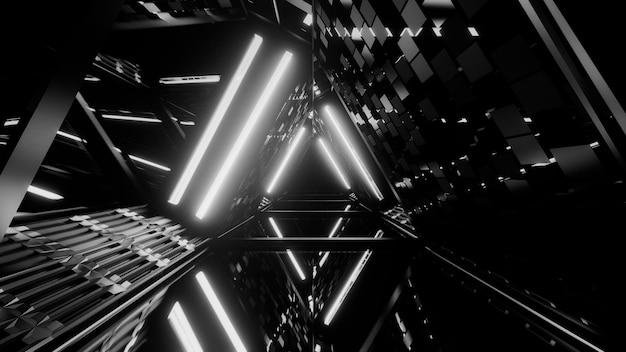 Grijstintenopname van lasershow van gloeiende lijnen van neonlichten Gratis Foto