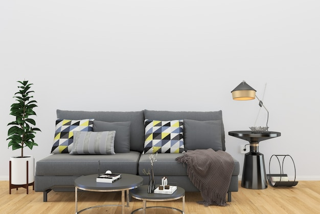 Grijze bank witte muur luxe houten vloer witte muur zwarte