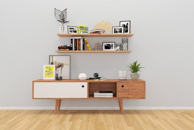 Grijze muur houten plank boom plant decor kast woonkamer vloer ...