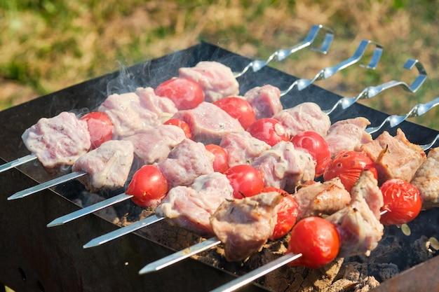 Grillspies met vlees en groenten in de natuur. spiesjes op de grill Premium Foto