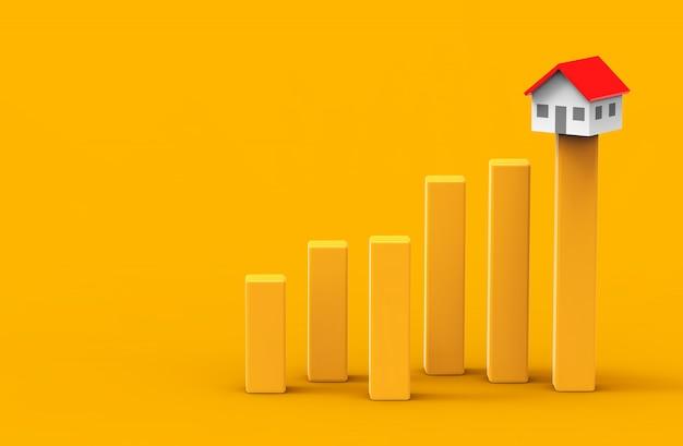 Groei onroerend goed concept. bedrijfsgrafiek en huis. 3d illustratie. Premium Foto