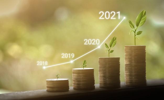 Groei van jaren 2018 tot 2021 Premium Foto