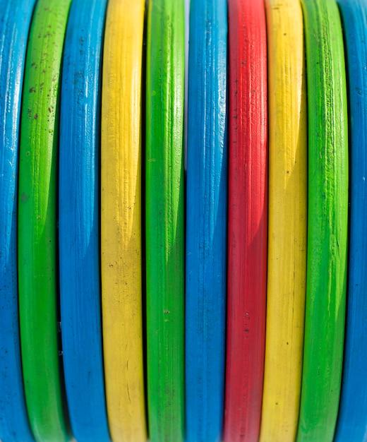 Groen geel rood blauw van textuur multicolored houten strepen Premium Foto
