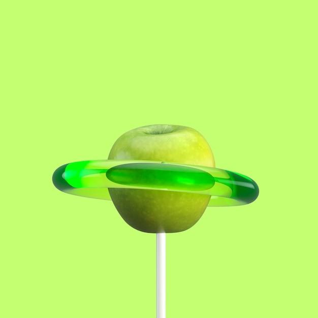 Groene appels fruit snoep. minimaal fruit idee. 3d render. Premium Foto