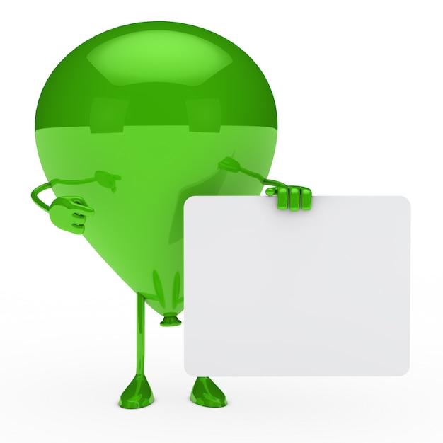Groene ballon poseren met een leeg aanplakbiljet Gratis Foto
