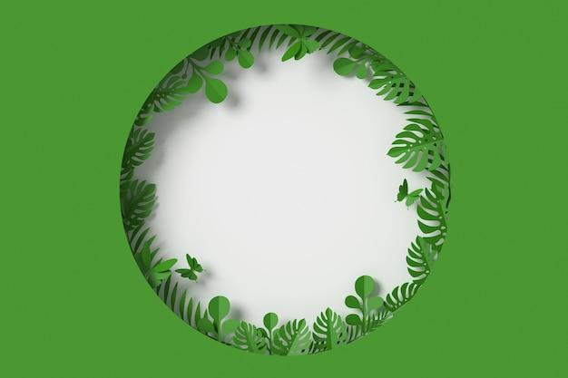 Groene bladeren zijn cirkelvormige vorm, vlinderpapier Premium Foto