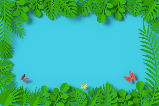 Groene bladeren zijn ingelijst op blauwe achtergrond, vlinder papier vliegen Premium Foto