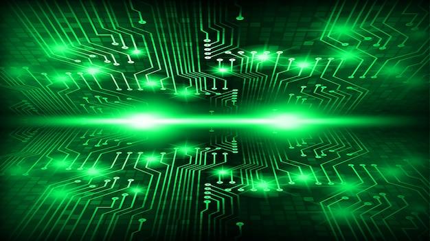 Groene cyber kring toekomstige technologie concept achtergrond Premium Foto