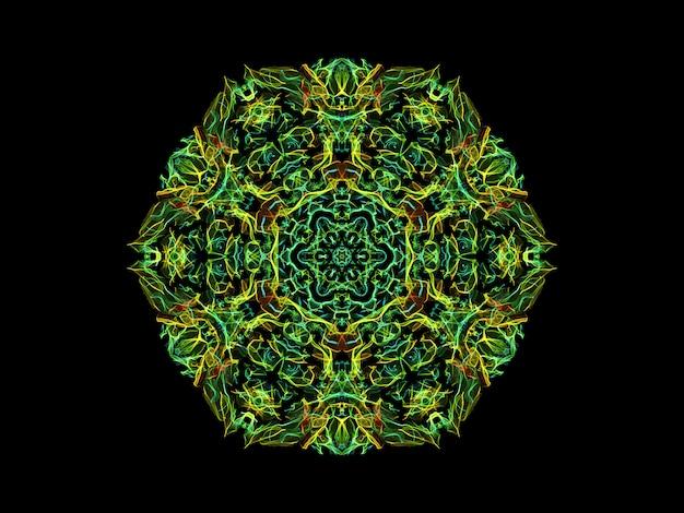 Groene en gele abstracte vlammandalabloem, sier bloemen hexagonaal patroon op zwarte achtergrond. Premium Foto