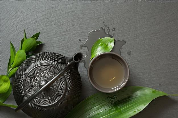 Groene japanse thee Premium Foto