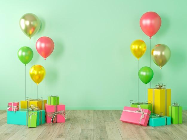 Groene lege muur, kleurrijk interieur met geschenken, cadeautjes, ballonnen voor feest, verjaardag, evenementen. 3d render illustratie, mockup. Premium Foto