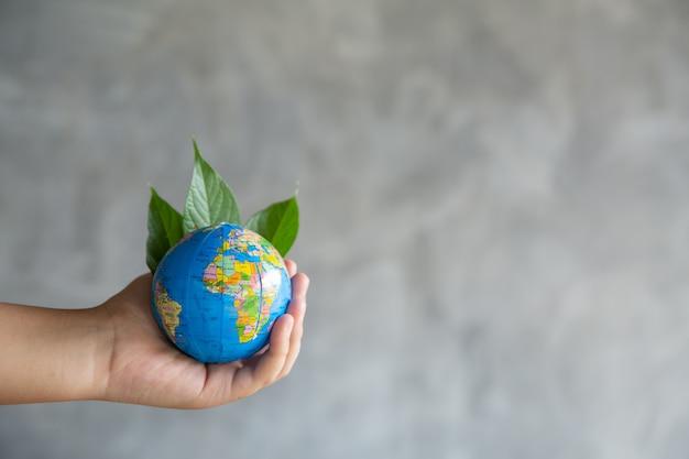 Groene planeet in jouw handen. red de aarde. Gratis Foto