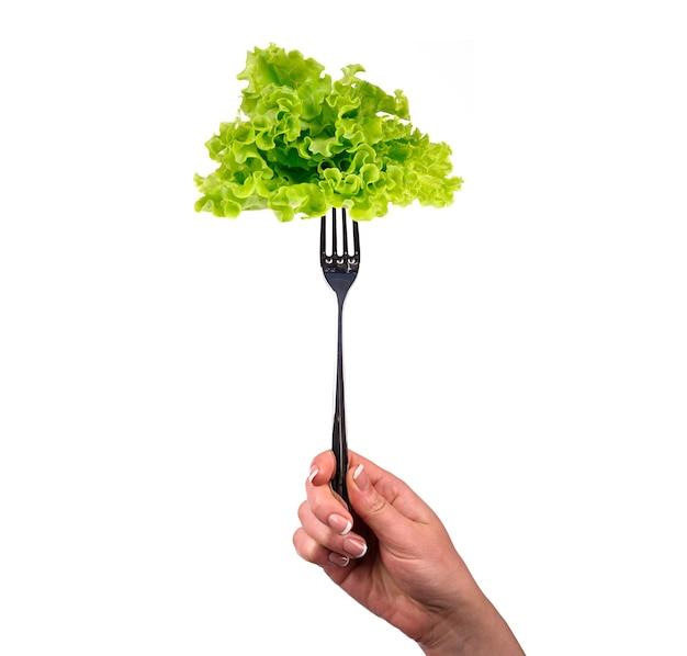 Groene salade op de vork die op wit wordt geïsoleerd Premium Foto