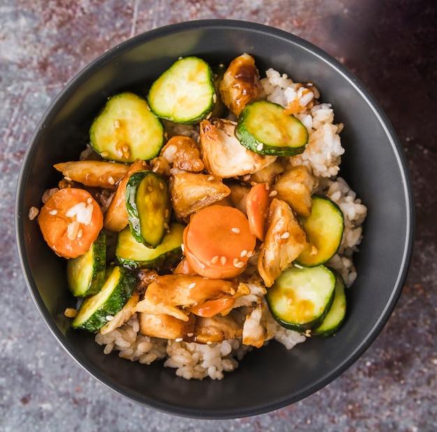 Groenten met zaden op rijst Gratis Foto