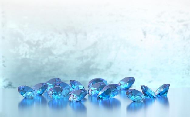 Groep blauwe ronde die diamantengemmen op glanzende zachte nadruk worden geplaatst als achtergrond, 3d illustratie. Premium Foto
