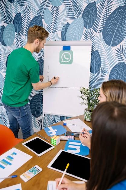 Groep mensen plannen op sociale media-app Gratis Foto