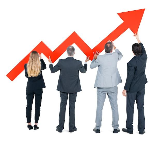 Groep van mensen uit het bedrijfsleven over economisch herstel Gratis Foto