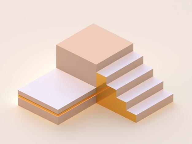 Groep van platforms en trappen. scène met geometrische vormen. isometrisch perspectief. minimale 3d-weergave Premium Foto