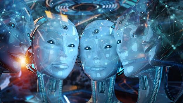 Groep vrouwelijke robotkoppen die een digitale verbinding maken Premium Foto