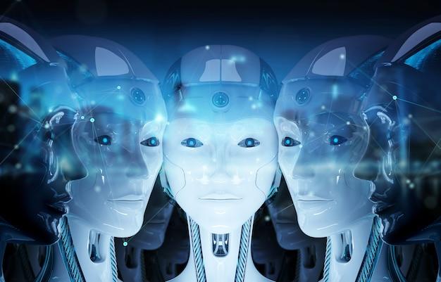 Groep vrouwelijke robotshoofden die het digitale verbinding 3d teruggeven creëren Premium Foto