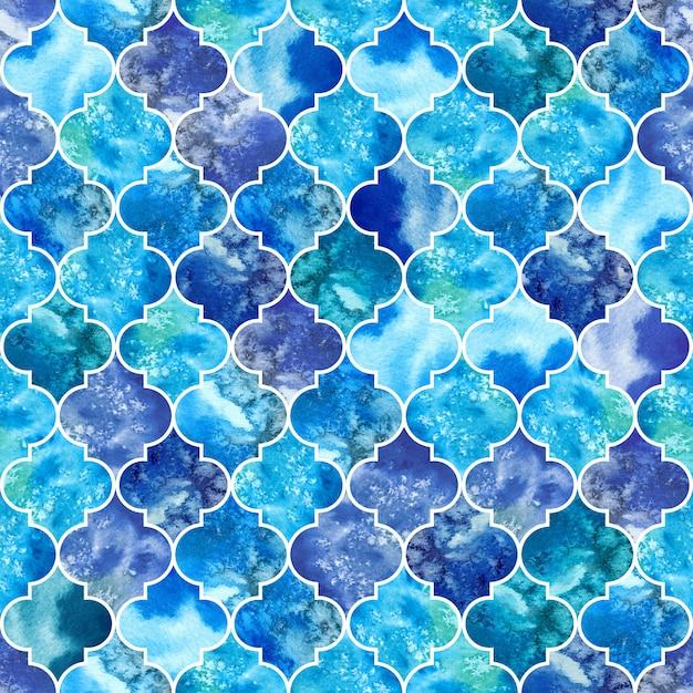 Groot naadloos patroon, waterverf marokkaanse marmer blauwe tegels Premium Foto