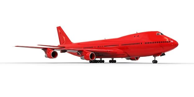 Groot passagiersvliegtuig met grote capaciteit voor lange transatlantische vluchten. rood vliegtuig op wit geïsoleerde achtergrond. 3d illustratie Premium Foto