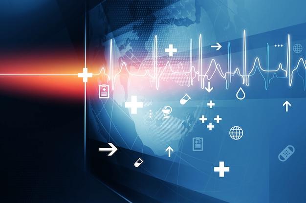 Groot plat scherm met gezondheidssymbolen en hartslagdiagram Premium Foto