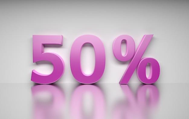 Groot roze percentagegetal 50 percenten die zich op witte weerspiegelende oppervlakte bevinden. Premium Foto