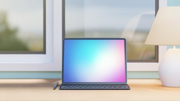 Groot scherm tablet met case toetsenbord potlood en witte lamp geplaatst op houten tafel en windows achtergrond. 3d-rendering afbeelding. Premium Foto