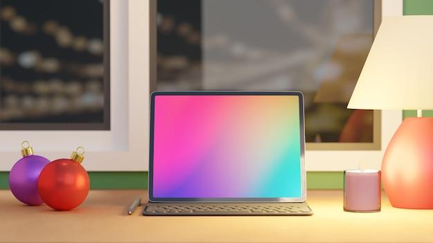 Groot scherm tablet met case toetsenbord potlood kerstbal kaars en witte lamp geplaatst op houten tafel en windows achtergrond. 3d-rendering afbeelding. Premium Foto