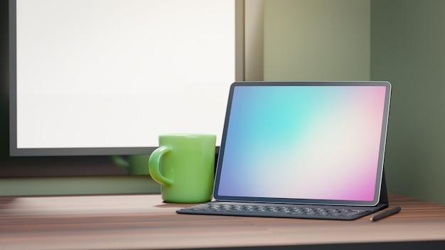 Groot schermtablet met gevaltoetsenbord en groene koffiekop die op houten lijst en venstersachtergrond wordt geplaatst. 3d-rendering afbeelding. Premium Foto