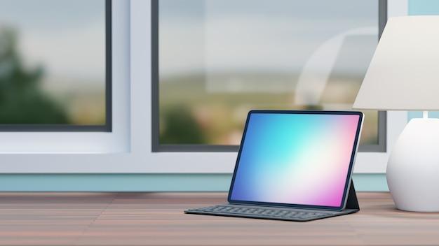 Groot schermtablet met gevaltoetsenbord en witte lamp die op houten lijst en venstersachtergrond wordt geplaatst. 3d-rendering afbeelding. Premium Foto