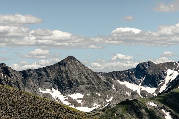 Groothoek opname van het rocky mountain national park in de vs onder een bewolkte hemel Gratis Foto