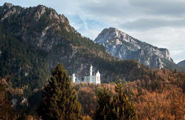 Groothoekopname van het kasteel neuschwanstein in duitsland achter een berg omringd door het bos Gratis Foto