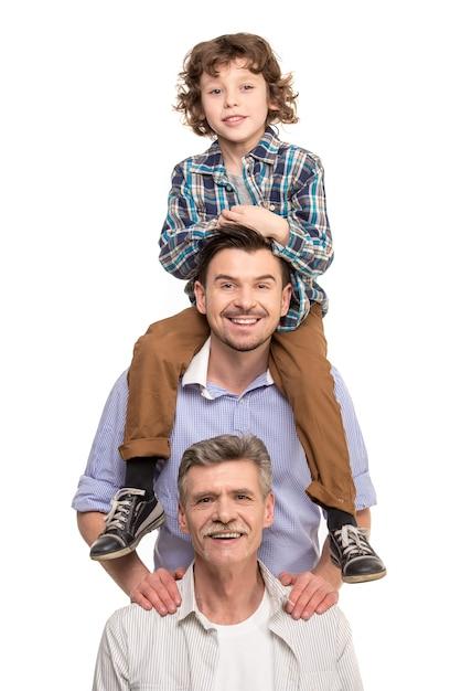 Grootvader, vader en zoon Premium Foto