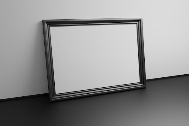 Grote galerij lege sjabloon zwart frame op zwart Premium Foto