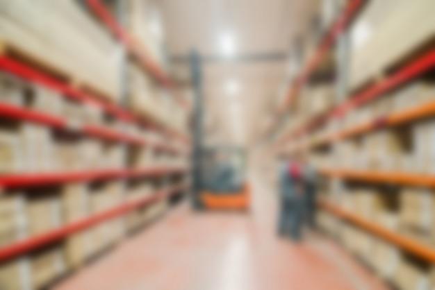 Grote moderne warehouse thema vervagen achtergrond Gratis Foto